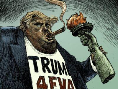 کاریکاتور ژست متفاوت ترامپ بعد از استیضاح