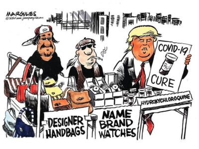 دونالد ترامپ در حال دستفروشی