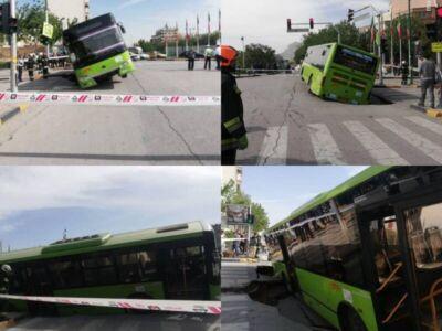 فرو رفتن اتوبوس در زمین در خیابان میرزا طاهر اصفهان
